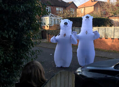 Inflatable polar bear costumes