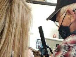 Elderly Man Learns Some Tips about Hair and Makeup to Help His Wife